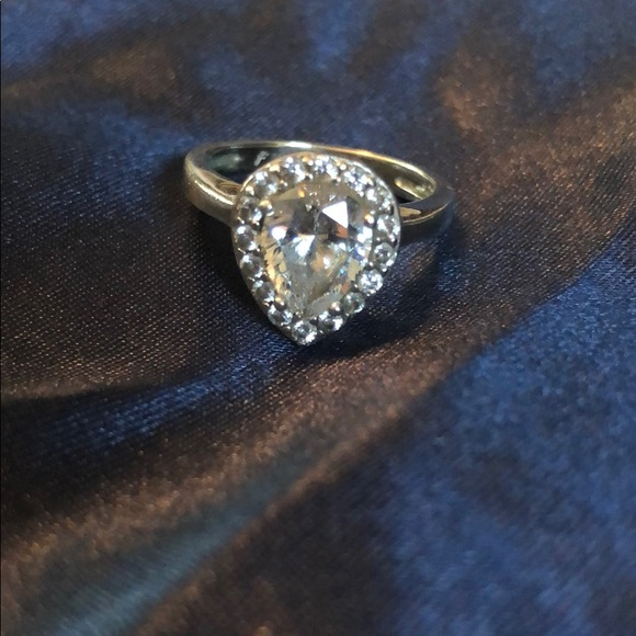 ROSS-SIMONS CZ Pear Shaped Size 6 Ring w Hearts